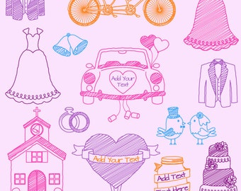 Doodle Wedding Photoshop Brushes, Hand Drawn Photoshop Brushes, Great for Invitations - Commercial and Personal Use