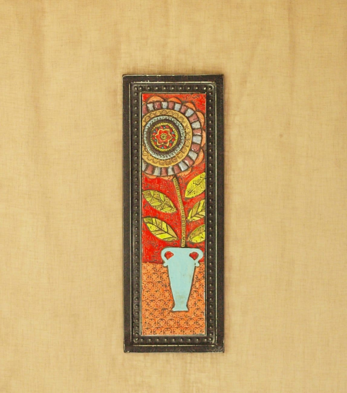 Wall Art Mosaic Wall Art Ceramic Tile Art Blossom in Blue Vase