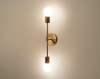 Trek Bar • contemporary minimal brass wall sconce dual lamp light