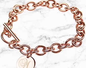 Rose Gold curb link bracelet, engraved letter initial monogram - Perfect personalised gift for your sister, bestie or Bridesmaid