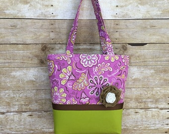 Purple and Chartreuse Green Tote, book bag,purse,laptop bag, knitting bag,Premade can ship today!