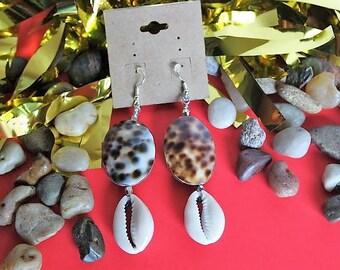 Brown & Black Speckled Beaded, Cowry Shell, Dangle Earrings