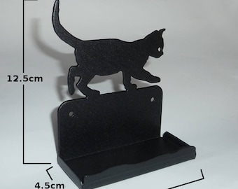 Cute Cat Kitten Metal Business Card Holder (Office Desk Decoration)