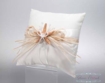 Starfish & Raffia Ring Bearer Pillow, Flower Girl Basket, White Ivory Nautical Set, Sea Shells, Pearls, Natural Orange Sugar Starfish
