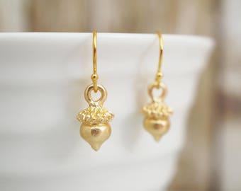 Matte Gold Acorn Earrings / Dainty Earrings / Woodland Nature Inspired