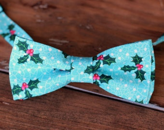 Boys Holly Bow Tie - boys Christmas holly berry blue bowtie - bow tie for baby infant toddler child preteen boy - holiday