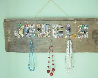 Vintage Jewelry Organizer / Holder Barn Wood Wall Hanging Handmade Reclaimed Wood Repurposed Display Upcycled OOAK