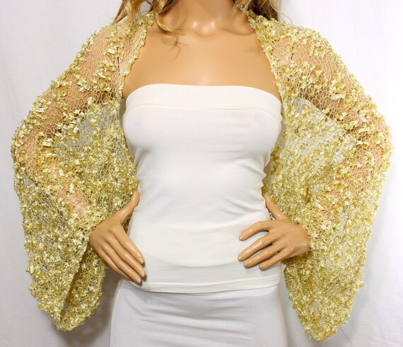 Wedding Gown Cover Ups: Wedding Shrug Knit Gold Shrug Cover Ups Shawls Wraps Long