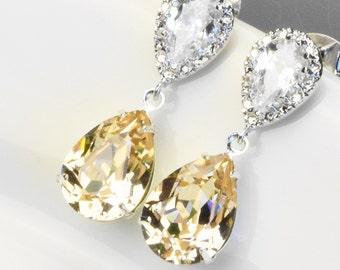 Champagne Earrings - Swarovski Earrings for Women - Bridal Earrings - Blush Earrings Silver - Bridesmaid Jewelry - Wedding Jewelry