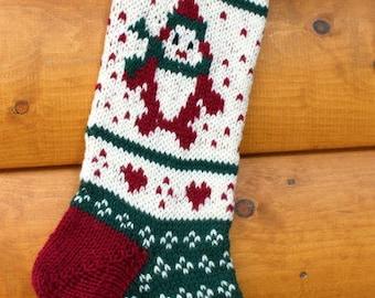 Knit Christmas Stocking Penguin - Handmade & Ready to Ship!