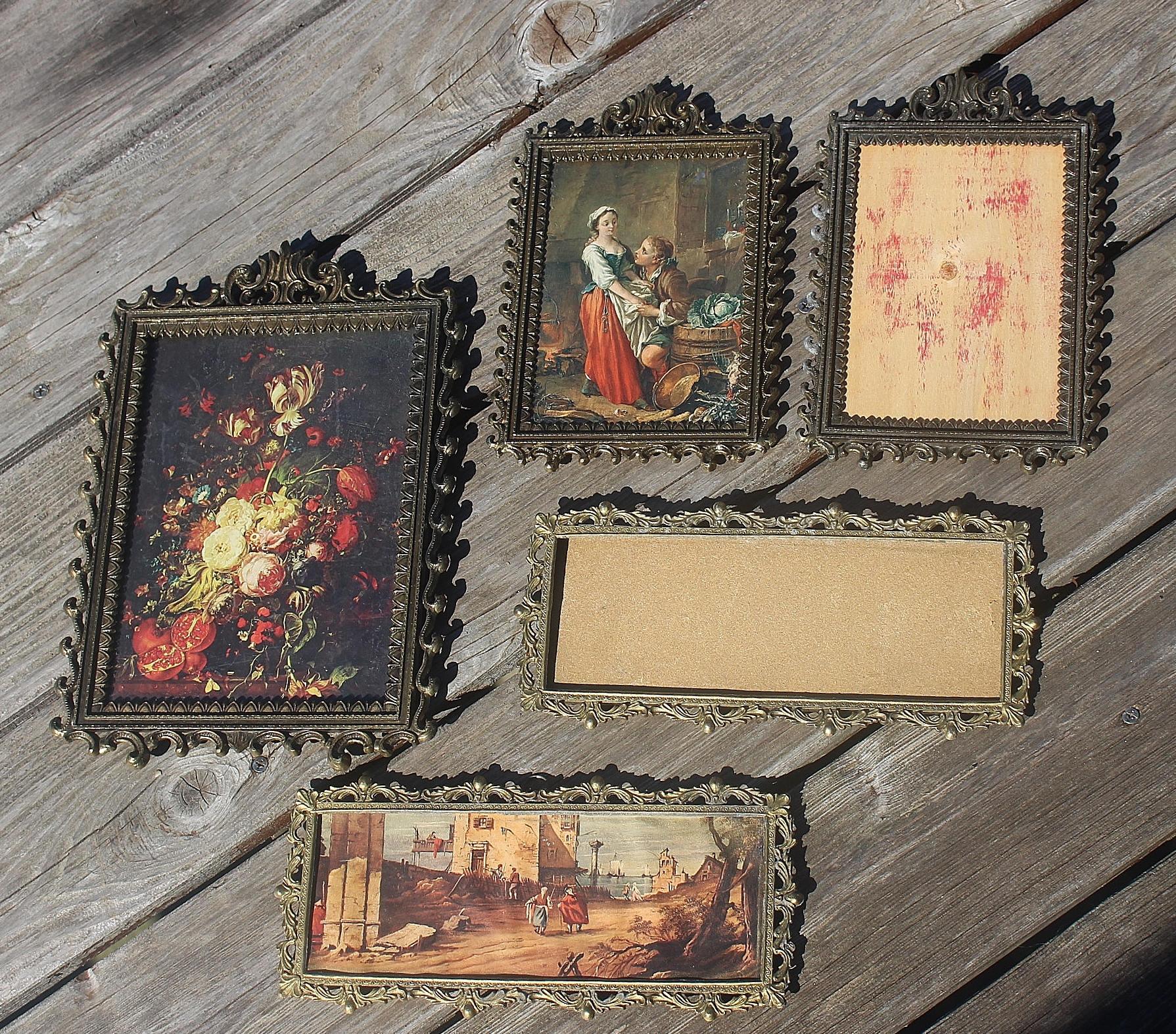 Vintage Metal Barroco adornado Marcos cuadros florales hechos en ...