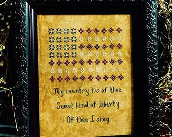 INSTANT DOWNLOAD My Country Tis' of Thee PDF counted cross stitch patterns by Willow Hill Samplings at cottageneedle.com colonial patriotic