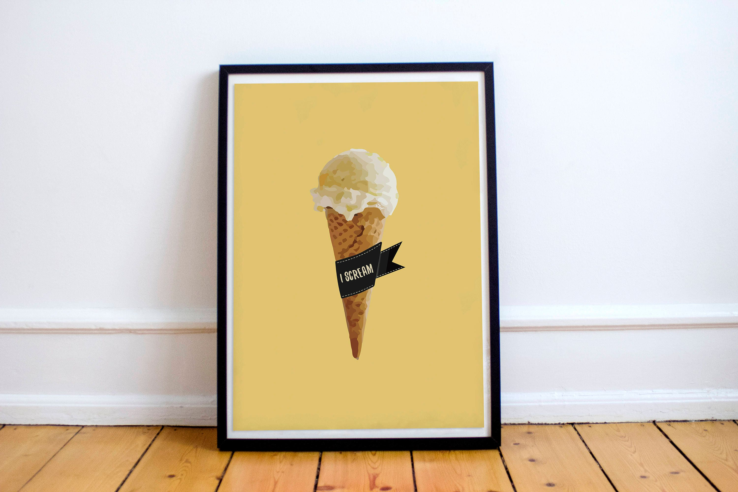 Ice Cream Poster Play on Words Poster Yellow I Scream