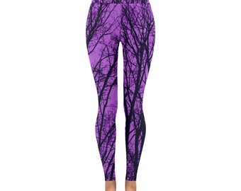 Ultra violet tree print yoga pants, purple bare tree branch leggings, altclothing, unusual, all sizes, activewear capri summer
