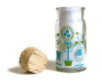 Vintage Apothecary Jar, Aqua Green Design, American Gothic, Wheaton Glass Bottle, Cork Lid Stopper, Farmhouse Kitchen