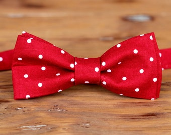 Men's red cotton bow tie, red white dot bowtie for men and teen boys, pre tied bow tie, wedding bow tie, groomsmen bow tie, gift for him