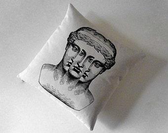 SALE Roman Bust silk screen cotton canvas throw pillow 18 inch black