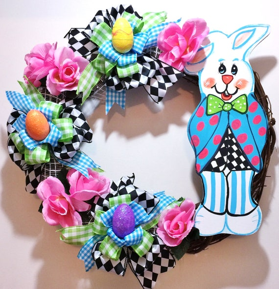 Peter Rabbit Easter Bunny Eggs Floral - Welcome Door Grapevine Wreath