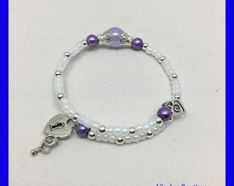 White and Purple Beaded Heart Bracelet, White and Purple Memory Wire Bracelet, Stackable Bracelet, Heart Lock and Key, Coil Wrap Bracelet