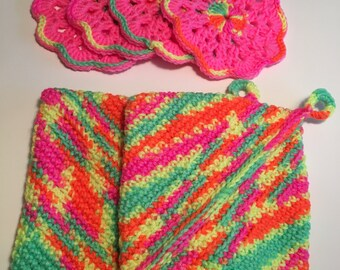 Crocheted Oven Mitts and Matching Coasters