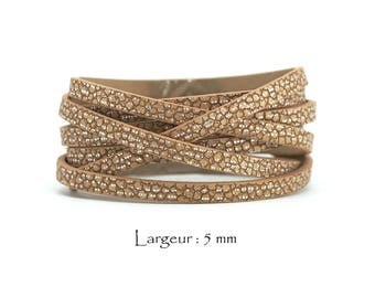 1.2 M - cord faux leather effect Crackle - width: 5 mm / Ep. : 2 mm - color Camel and silver