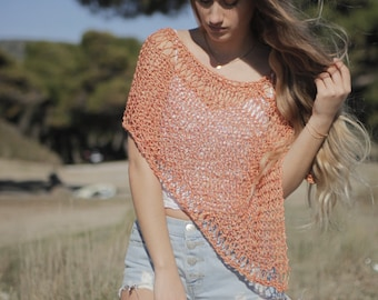 Boho hand knit summer poncho, tangerine open knit women's poncho, lace wrap, beach cover-up, festival shawl, loose knit poncho