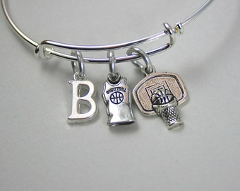 Basketball Bangle , Charm Bracelet, Basketball Jersey, Team Bracelet - Personalize w/ Initial, Monogram - Gift For Her, Under 20 , 133