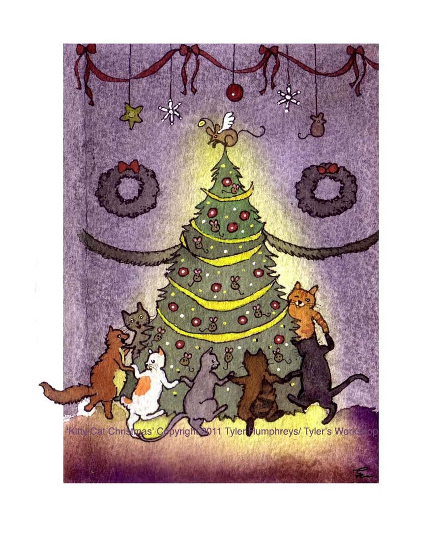 Funny cats christmas greeting card with cats dancing around description festively feline funny cats christmas greeting card kristyandbryce Choice Image