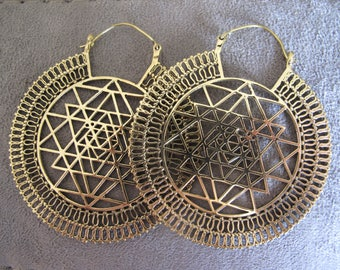 Sri Yantra Earrings, Sri Yantra Brass Earrings , Mandala Earrings, Sacred Geometry Earrings, Brass Tribal Earrings, Tribal Earrings