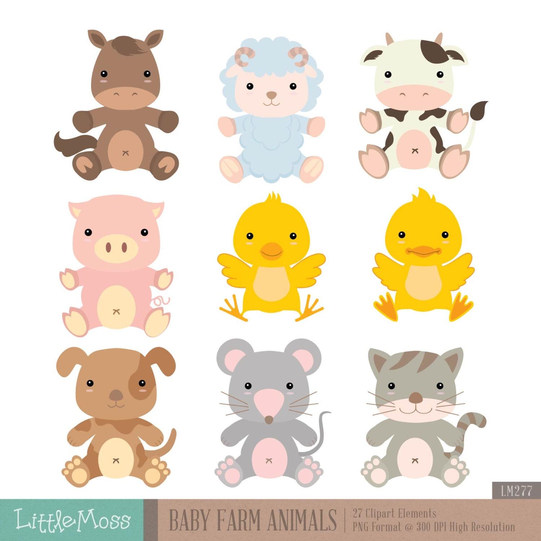 Baby Farm Animals Digital Clipart from LittleMoss on Etsy Studio