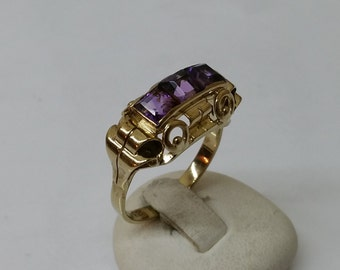 Nostalgic 333 gold ring with Amethyst GR132