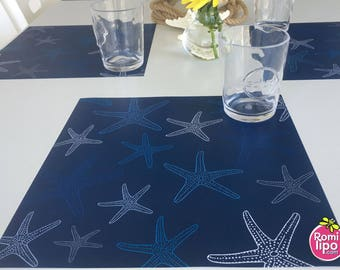 Placemats, Set of 12 11 x 11 placemats, nautical, starfish, placemats, table decor, event decor, beach party, beach house, nautical decor