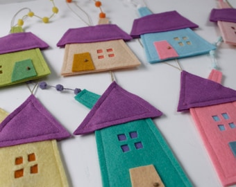 Set of eight felt houses in pastel colors, Felt Houses, Felt ornaments,  Housewarming gift, Home Decor all seasons. Home sweet Home,