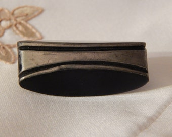Elongated Oval Shape Black Resin Button with Chrome Embellishment