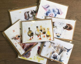 Handmade greetings cards - ASSORTED watercolour farm animal prints