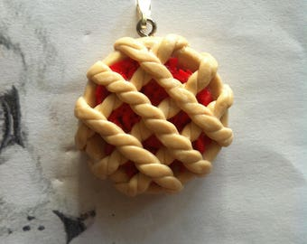 Fimo pendant strawberry pie