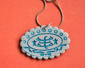 "Baha'i Ringstone Symbol Necklace- porcelain, scalloped oval in turquoise blue and white- ""Bahji Blue"""