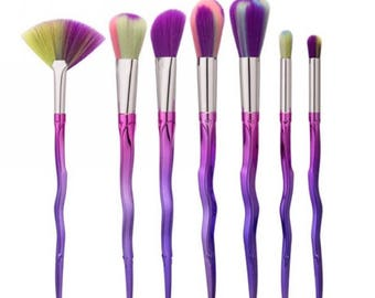 Metallic Makeup Brush Set, Pretty Pink Purple Makeup Brushes, Hombre Make Up Brush Set 7 Piece Set, Pro Makeup Brushes Cosmetic Brush Set