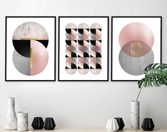 Printable Art, Set of 3 Prints, Downloadable Prints, Art Deco, Wall Art, Blush Pink, Gold, Grey, Minimalist, Poster, Print Set, Geometric