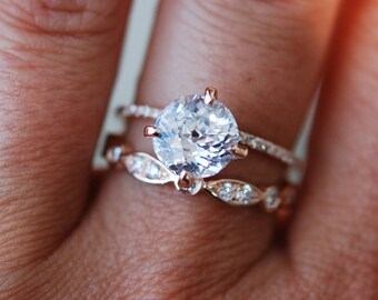 Rose gold engagement ring  2.55ct round white sapphire diamond ring. Engagement ring by Eidelprecious