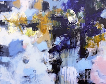 """ABSTRACT ORIGINAL PAINTING """"Juxtapose"""" Acrylic on 30"""" x 40"""" wall decor Direct from the studio of Elizabeth Chapman"""