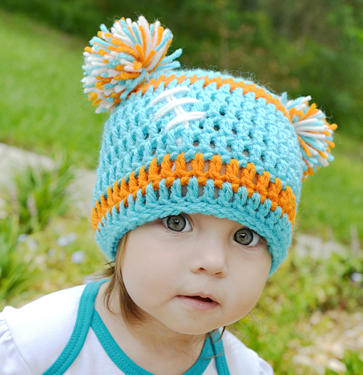 Crocheted Baby Miami Dolphins Football Beanie Baby Dolphins