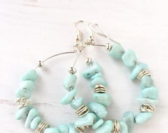 Mint green hoop earrings - Geometric hoop - Beaded hoop earrings - Mint earrings - Mint green jewelry - Large hoop earrings