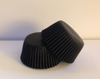 50 count -  Glassine Black standard size cupcake liners/baking cups
