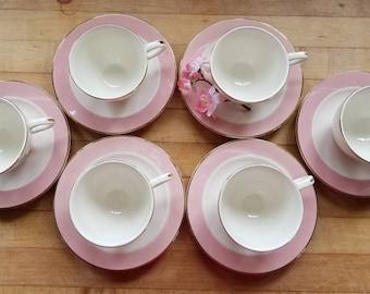 Pink Homer Laughlin, Glenwood Pattern 1950s Teacups and Saucers