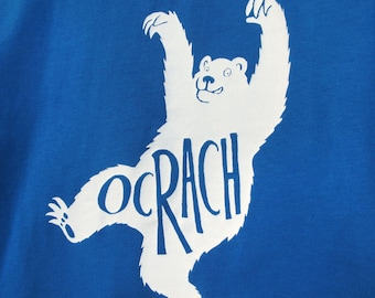 Bear children's t-shirt, 'Ocrach' Irish word for 'Hungry', blue Earth Positive organic cotton handmade