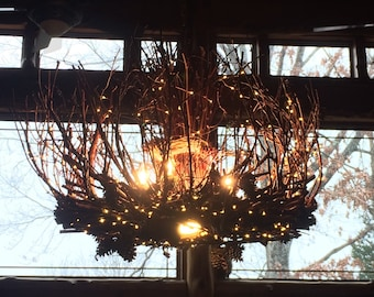 The Little Rock - 6+ 1 Twig Light - 30X24 - Rustic Chandelier - Down Light - 300 fairy lights - Branch Light Fixture