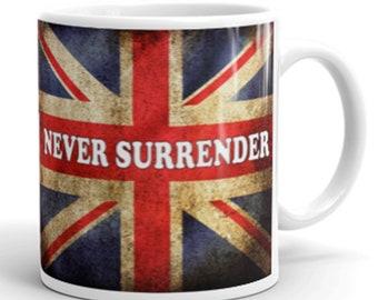 United Kingdom Union Jack Never Surender - Novelty Mug