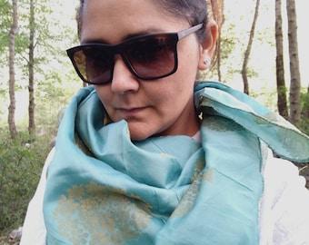 Turquoise blue brocade silk square scarf, silk scarf