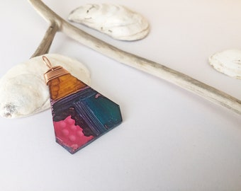 Boho Necklace Long Art Deco Pendant Polymer Clay Jewelry Geometric Jewellery Tribal Fusion - Mothers Day Gift for Her Mom Gift Sister Gift